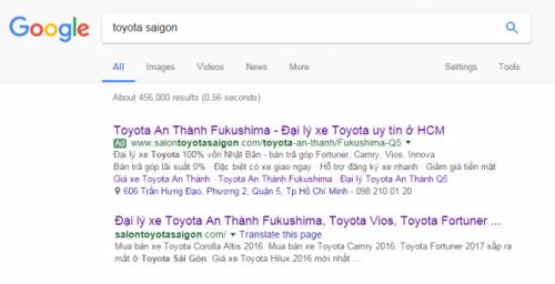 Quảng cáo Google Adwords với SalonToyotaSaigon.com
