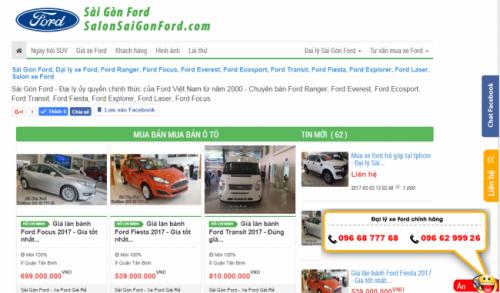 SalonSaigonFord.com tính hợp những tính năng ưu việt của một web bán hàng chuẩn SEO