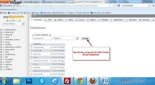 Hướng dẫn cài đặt wordpress, hướng dẫn cài đặt Databases