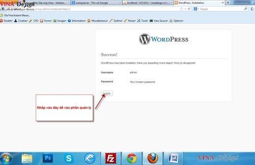 Hướng dẫn cài đặt wordpress, Login website wordpress
