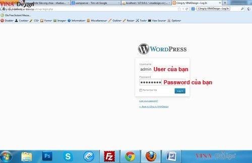 Login vào phần quản trị website wordpress