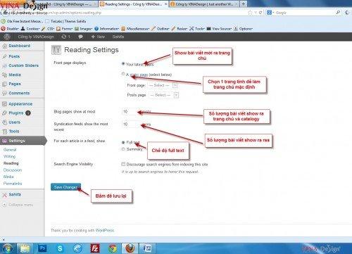 Hướng dẫn cài đặt wordpress, Cài đặt Reading cho worpress