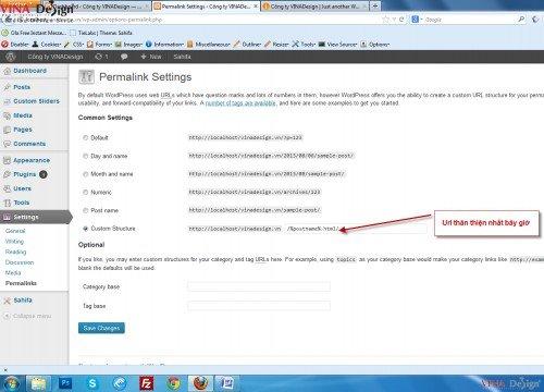 Hướng dẫn cài đặt wordpress, cài đặt Permalinks cho wordpress