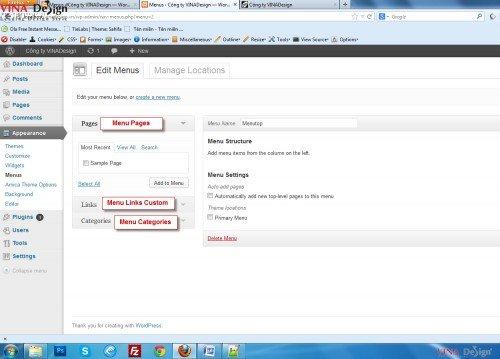 Hướng dẫn cài đặt wordpress, hướng dẫn tạo menu
