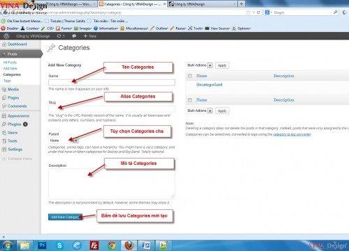 Hướng dẫn thiết kế website wordpress, Tạo Categories
