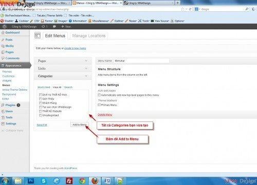 Hướng dẫn thiết kế web, Hướng dẫn tạo menu