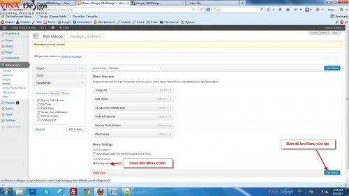 Tạo menu wordpress, hướng dẫn thiết kế website wordpress